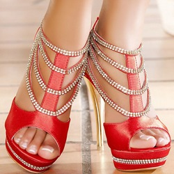 Shoespie Rhinestone Layered Platform Sandals