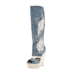 Stylish Denim Wedge Knee High Boots