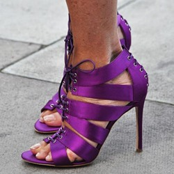 Impressive Purple Cut-Outs Lace-Up Dress Sandals