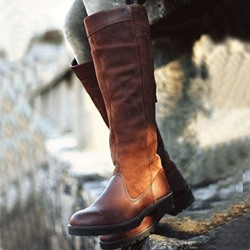 Concise Chic Brown Knee High Flat Riding Boots