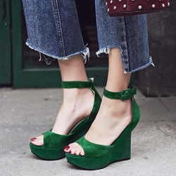 Shoespie Solid Color Cover Heel Wedge Sandals