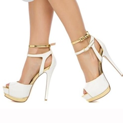 Elegant White PU Peep Toe Ankle Strap Platform Shoes