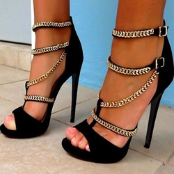 Most Popular Black Suede Metal Chain Dress Sandals