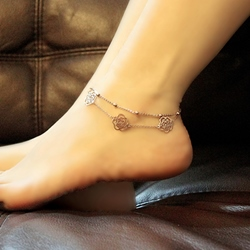Delicate Hollow-out Roses Women's Double Layers Anklets
