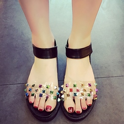 Shoespie Colorful Rivets Flat Sandals