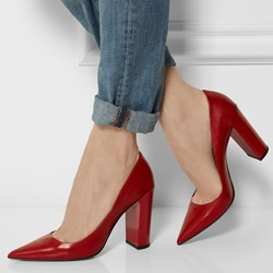 Shoespie Elegant Red Pointed Toe Block Heels