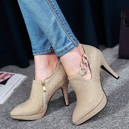 Shoespie Classy Glitter Pointed Toe Ankle Boots
