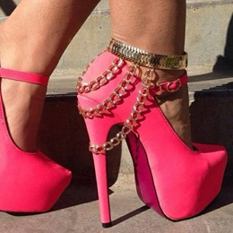 Gorgeous Rose Suede Ankle Strap Metal Chain High Heel Shoes