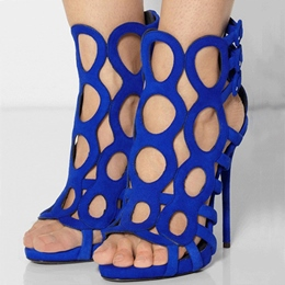 New Arrival Blue Suede Cut-Outs High Heel Sandals