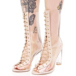 Shoespie Gorgeous Illusion Lace Up lucite Heel Fashion Booties