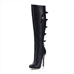 Graceful PU Upper Stiletto Heels Pointed-Toe Knee High Boots