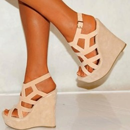 Sophisticated Coppy Leatrher Cut-Outs Wedge Sandals