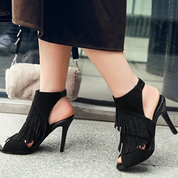 Shoespie Layered Fringing Heel Sandals