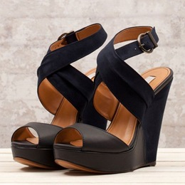 Simple Coppy Leather Cut-Outs Wedge Sandals