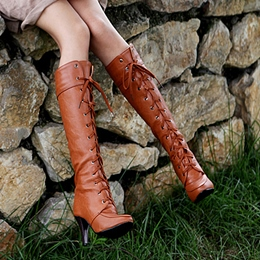 Shoespie Retro Solid Color Lace-Up Knee High Boots