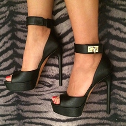 Beautiful Black Sheepskin Ankle Strap Dress Sandals