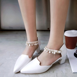 Shoespie Lolita Style Ankle Beaded Low Cheap Heels