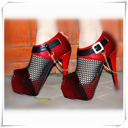 Shoespie Mesh Assorted Peep-toe Platform Heels