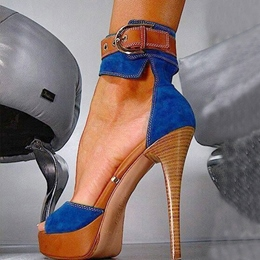 Fashion Denim Ankle Strap Platform Heels
