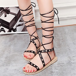 Shoespie Square Rivets Lace Up Gladiator Sandals