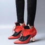 Shoespie Design Contrast Color Middle Heel Spring Booties