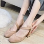 Shoespie Round Toe Cross Wrap Block Heel Pumps