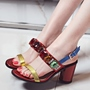 Shoespie Block Color Rhinestones Slingbacks Sandals