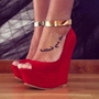Shoespie Gorgeous Red Suede Metal Ankle Strap Wedge Heel Shoes