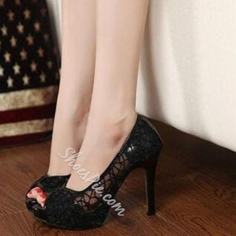 Shoespie Solid Color Lace Inset Peep Toe Heels