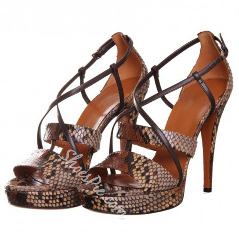 Elegant Snake Leather Upper Stiletto Heels Sandals