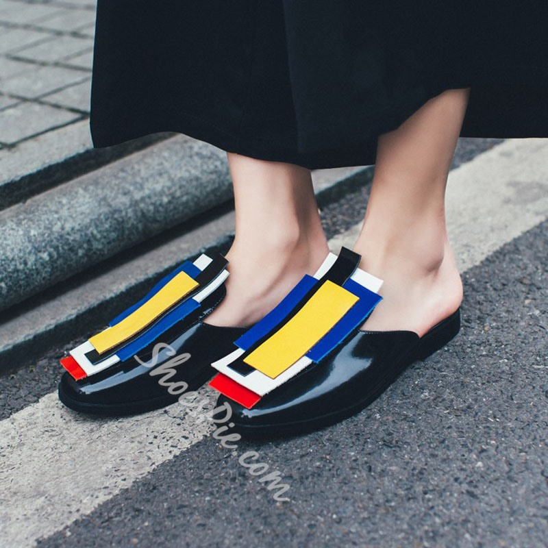 Shoespie Artistic Contrast Color Velcro Backless Mules Shoes