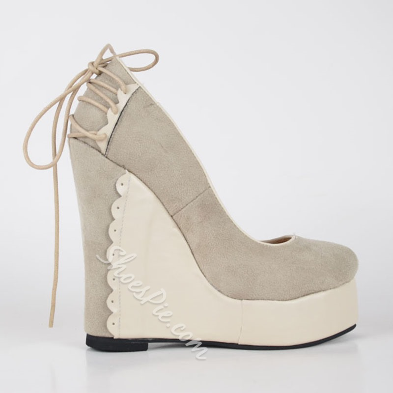 Comfortable Wedge Heel Apricot Suede High Heels