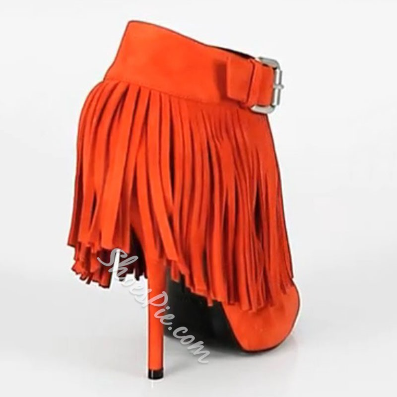 Shoespie Perfect Orange Kidsuede Upper Wedge Heels Peep-toe Women Shoes
