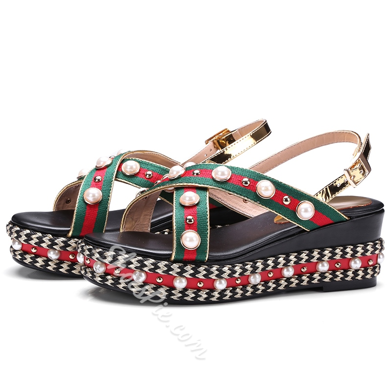 Shoespie Gorgeous Manmade Pearl Beading Platform Sandals