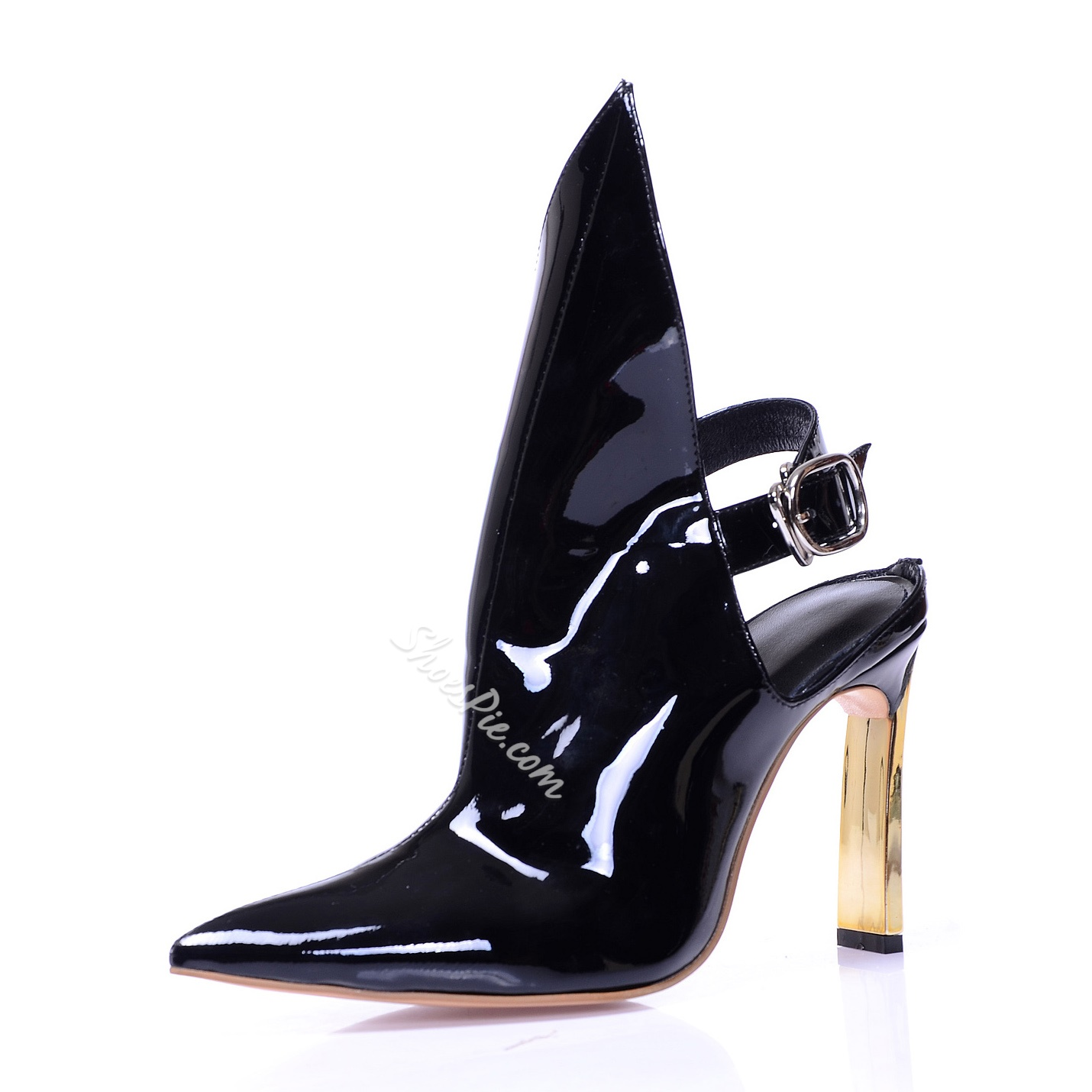 Chic Black Cut Out Buckled Ankle Boots