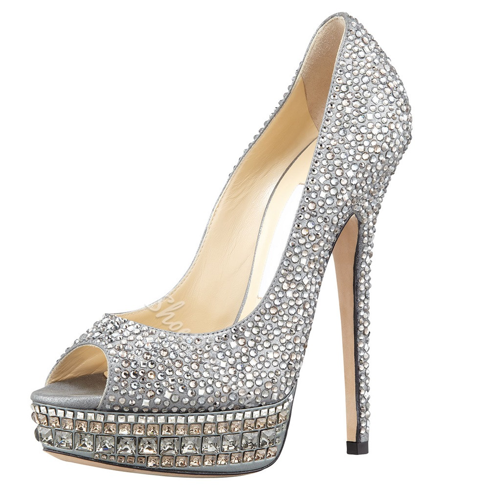 Summer Silver High Heels leather Peep Toe Women Pumps- Shoespie.com