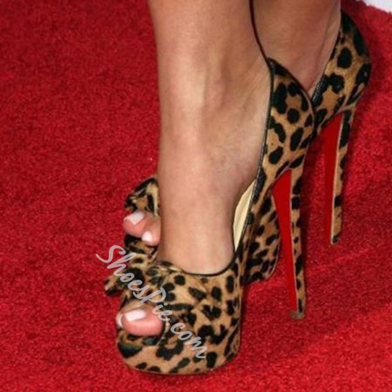 Shoespie Sexy Leopard Peep Toe Platform High Heel Pumps
