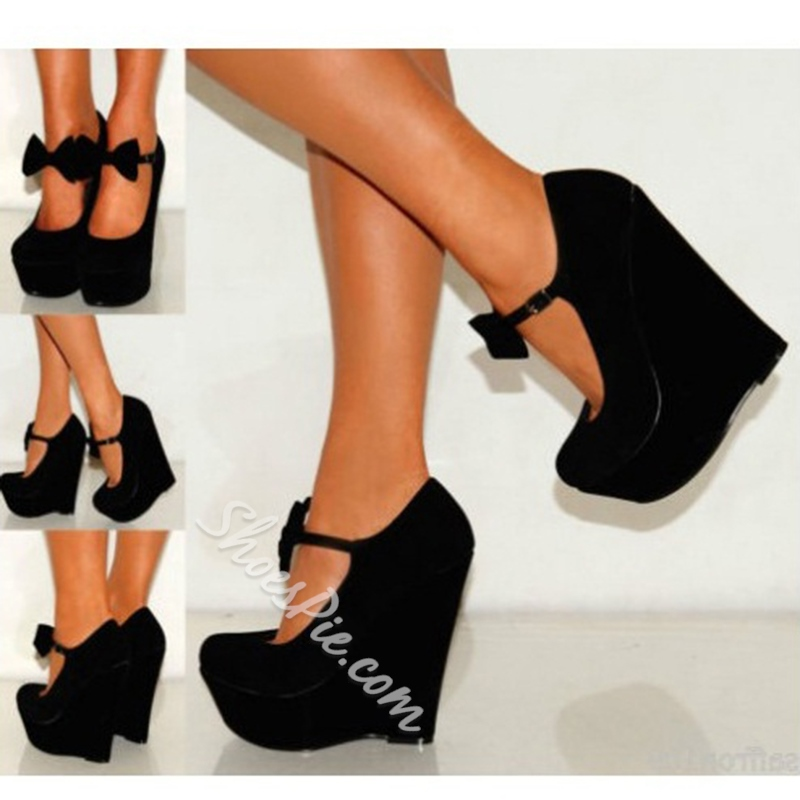 Shoespie Sweet Girl Wedge Heels With Bowtie