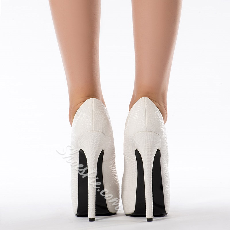 Elegant White Genuine Leather Platform Heels