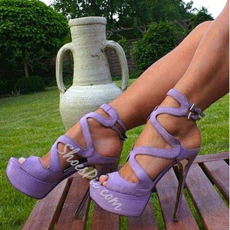 Elegant Purple Cut-Outs High Heel Sandals