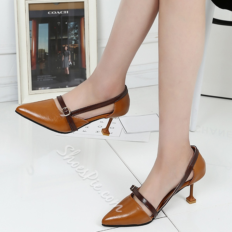 Shoespie Cheap Contrast Color Low Heels