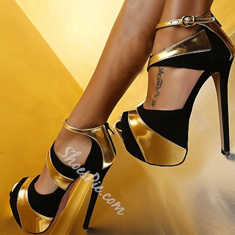 Dramatic Contrast Color Peep-Toe Stiletto Platform Sandals