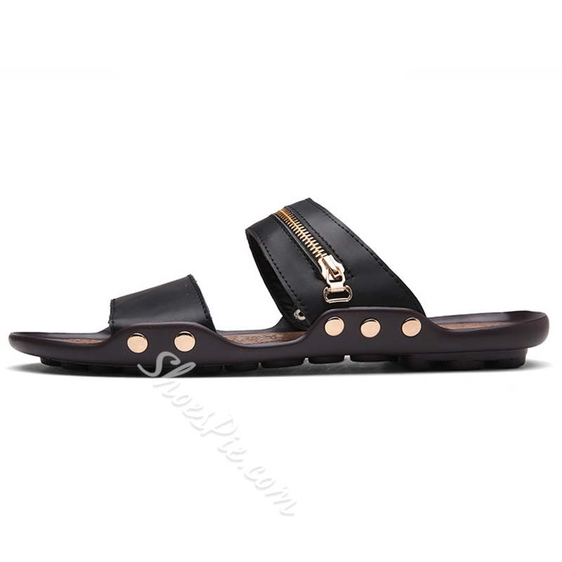 Shoespie Zippers Decorated Men's Flip Flops