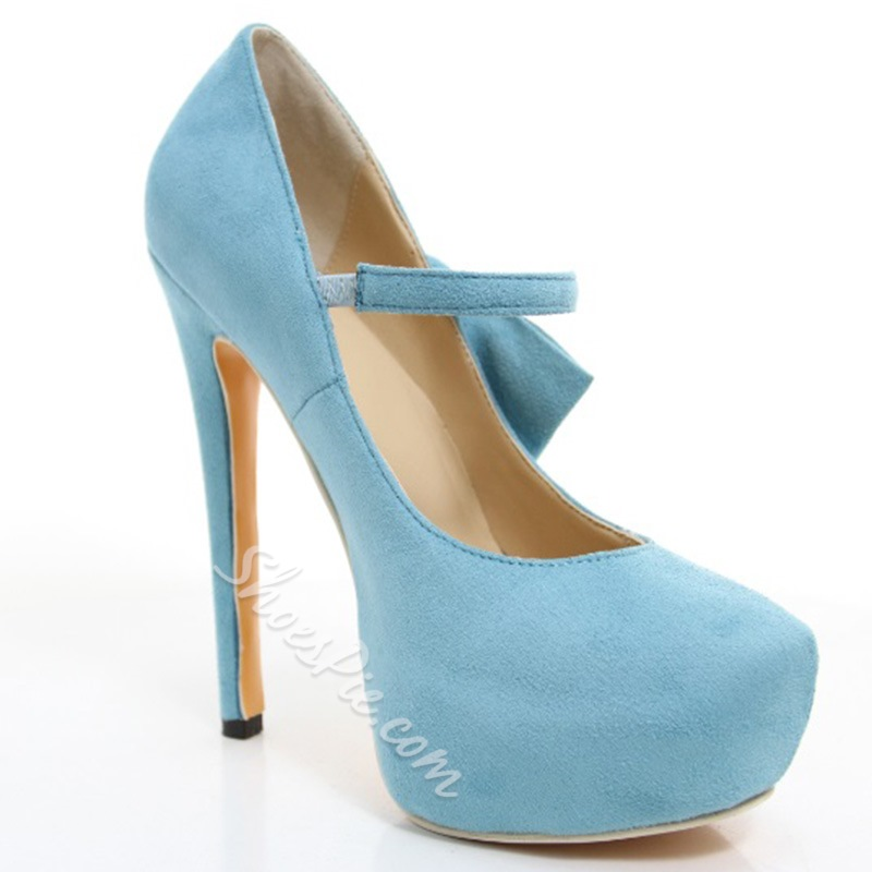 Fashionable Concise Platform Stiletto Heels with Bowtie