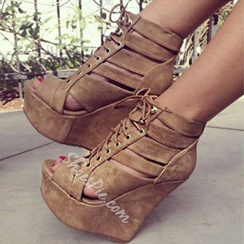 Shoespie Fashionable Brown Coppy Leather Cut-Outs Wedge Sandals