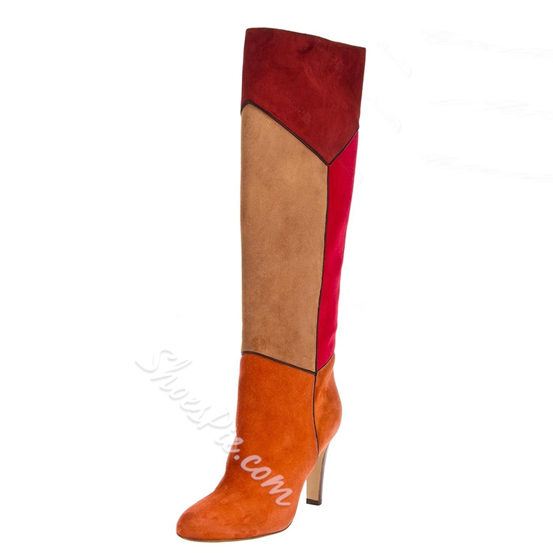 Fancy Suede Chunky Heels Knee Height Boots