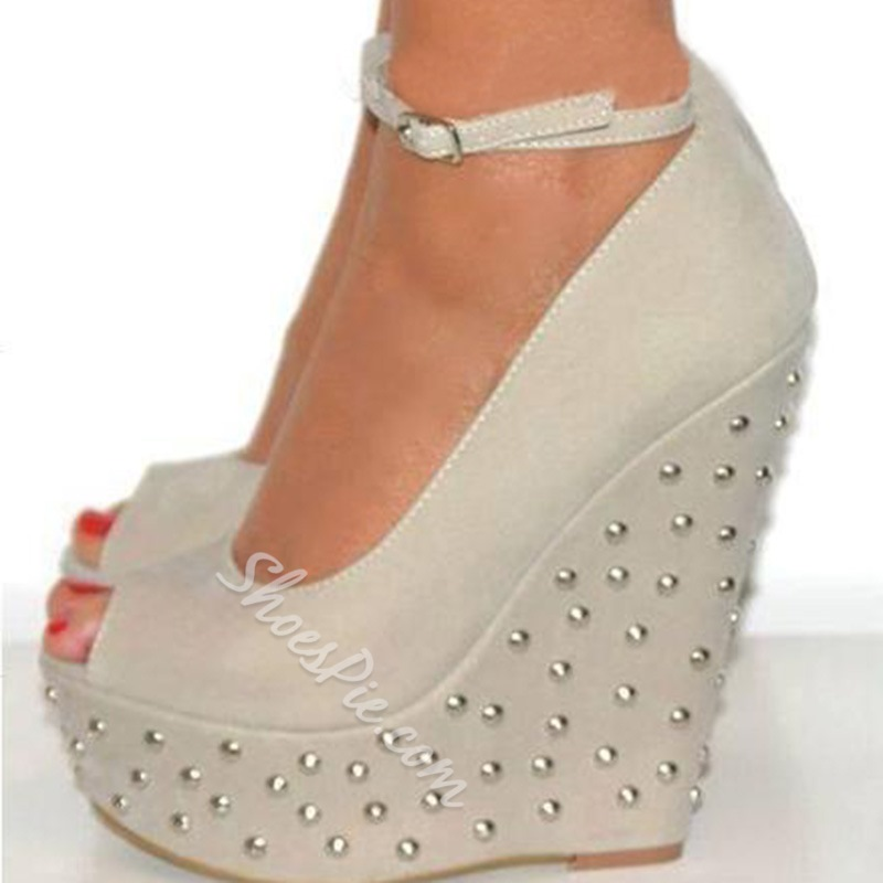 Shoespie Amazing Orange Suede Rivets Peep Toe Wedge Sandals