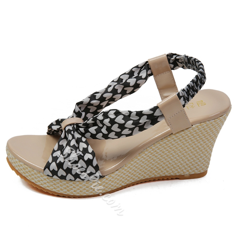 Shoespie Cute Hearts Wedge Sandals