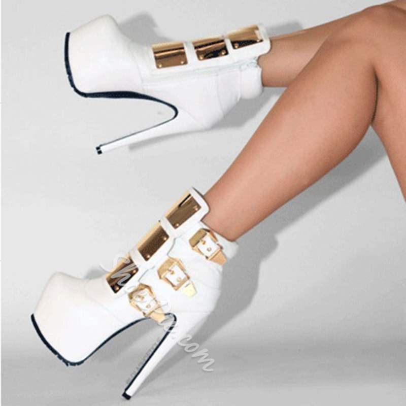 Chic White Coppy Leather Platform High Heel Boots With Metal Decoration