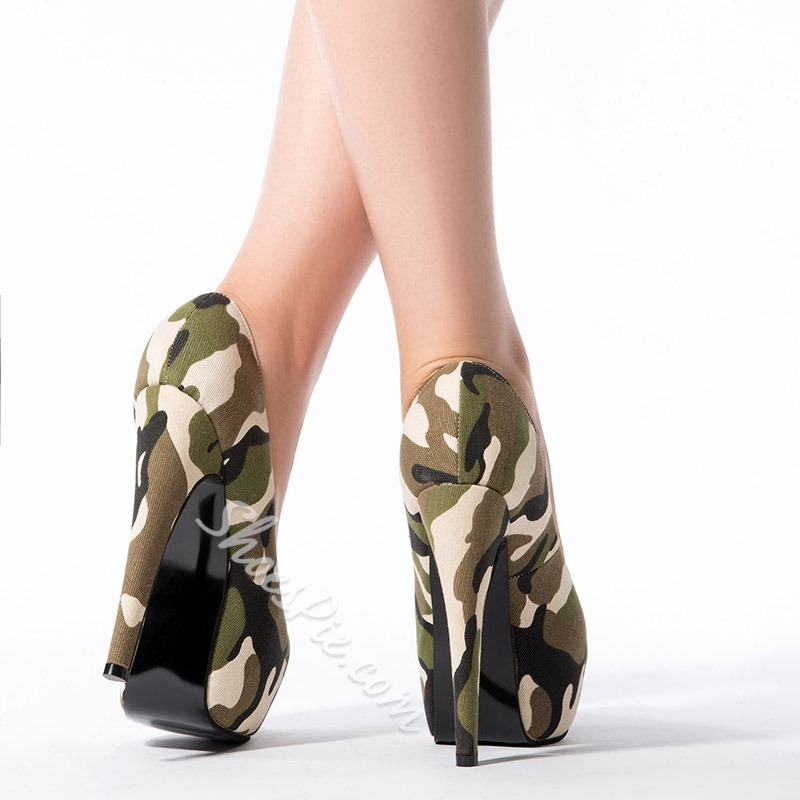 Shoespie Chic Camouflage Platform High Heels